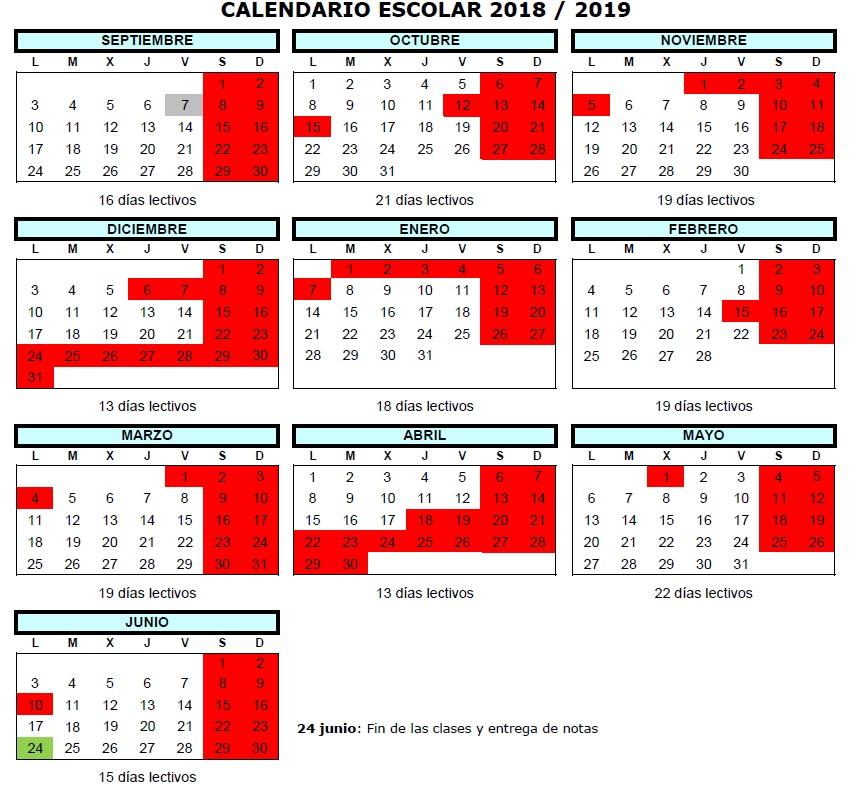 Calendario Escolar 1819.Calendario Escolar 2018 2019 Ies Valle Del Cidacos