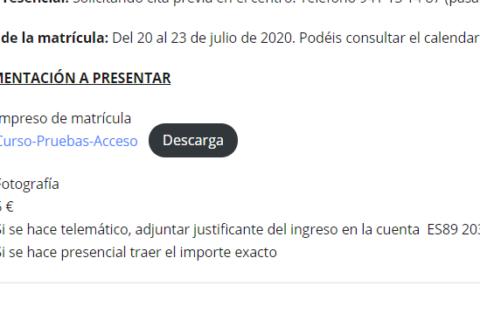 Matriculación - Curso preparatorio a pruebas de acceso a ciclos formativos
